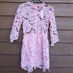 NWT Lioness City Lights Crochet Pink Dress - small